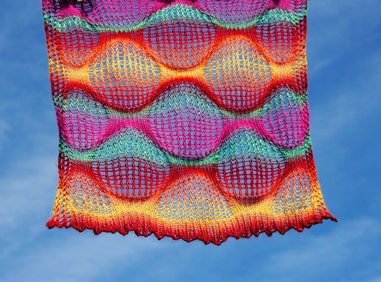 Alanna Nelson knits variegated sock yarn